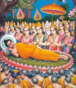 (...) allongé sur le côté droit, faisant face à l'Ouest, il entra en parinirvana (...)