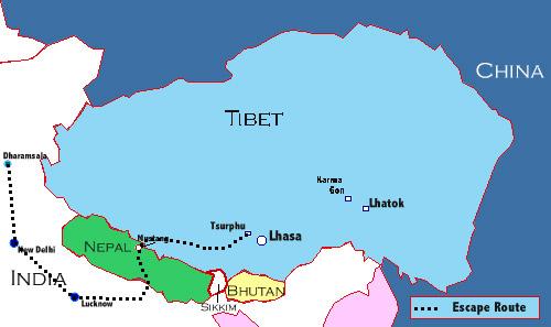 Itinéraire de l'évasion du Tibet vers l'Inde