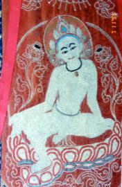 Une représentation du Bodhisattva Chenrézik dans la posture de repos au sein de la nature de l'esprit